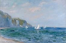 Скалы и парусные лодки в Пурвиле - Моне, Клод