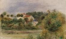 Пейзаж с домами в парке - Ренуар, Пьер Огюст