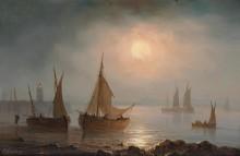 Прибрежный пейзаж в лунном свете - Гюден, Анриетта Эрминия