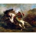 Столкновение мавританских всадников - Делакруа, Эжен