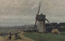 Пейзаж с ветряной мельницей - Коро, Жан-Батист Камиль