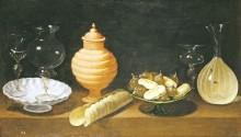 Натюрморт из стекла, керамики и сладостей, 1622 - Хамен, Хуан ван дер