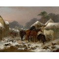 Скотный двор зимой -  Герринг, Джон Фредерик