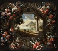 Гаэтанский залив с цветочной гирляндой - Брейгель, Абрахам