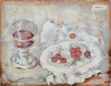 Натюрморт со стаканом и вишней - Лемпицка, Тамара