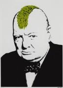 Черчилль с зеленым ирокезом - Бэнкси