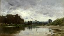 Речной пейзаж в Виллервиле - Добиньи, Шарль-Франсуа
