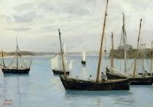 Пейзаж с рыбацкими шхунами - Коро, Жан-Батист Камиль