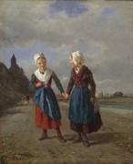 Две юные путницы на фоне пейзажа - Труайон, Констан