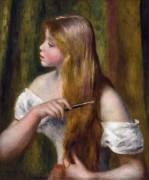 Девушка, расчесывающая волосы - Ренуар, Пьер Огюст