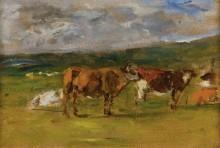Коровы на пастбище, (набросок) 1880-85 - Будэн, Эжен