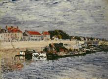 Баржи на Луэне в Сен-Мамесе - Сислей, Альфред