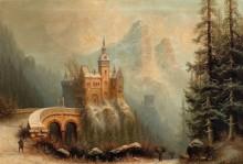 Зимний пезаж с замком в горах - Бредов, Альберт