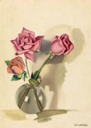 Три розы в вазе на столе - Лемпицка, Тамара