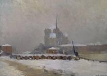 Собор Парижской Богоматери, эффект снега, вечер - Лебург, Альберт