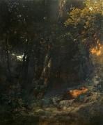 Лесной пейзаж со спящим фавном - Бёклин, Арнольд
