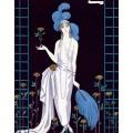 Дама в вечернем платье в розарии - Барбье, Жорж
