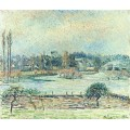 Вид  на Бэзинкурт, наводнение, утро, 1892 - Писсарро, Камиль