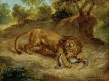 Лев и кайман - Делакруа, Эжен