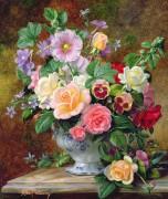 Розы, анютины глазки и другие цветы в вазе - Вильямс, Альберт
