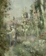 Мальчик в саду со штокрозами - Моризо, Берта