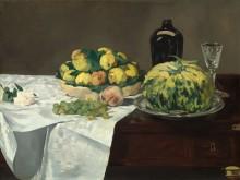 Натюрморт с дыней и персиками - Мане, Эдуард