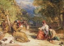 Францисканский монах и испанские крестьяне на горной тропе - Льюис, Джон Фредерик