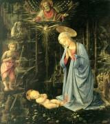 Поклонение Младенцу с маленьким Иоанном Крестителем и Святым Бернардом - Липпи, Филиппо (Филиппино)