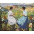 Две женщины сидя лицом к лицу на каменных  перилах, 1912 - Мартен, Анри Жан Гийом