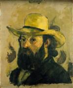 Автопортрет в соломенной шляпе - Сезанн, Поль