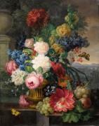 Натюрморт с бабочками, цветами и фруктами на фоне пейзажа - Нигг, Йозеф
