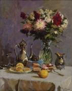 Натюрморт с чайником и цветами - Пчёлин, Владимир Николаевич