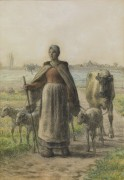 Пастушка с домашними животными - Милле, Жан-Франсуа