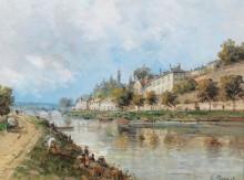 Речной пейзаж с видом на Перигё - Маскар, Гюстав