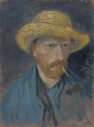 Автопортрет с трубкой и соломенной шляпой (Self Portrait with Pipe and Straw Hat), 1887 - Гог, Винсент ван