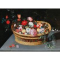 Корзина с весенними цветами на каменном столе - Брейгель, Ян (младший)