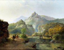 Альпийский пейзаж с рекой и путниками - Круземан, Фредерик Маринус