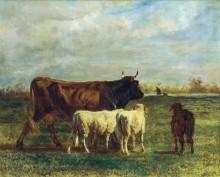 Корова и овцы на пастбище - Труайон, Констан