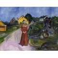 Женщина в красном платье - Мунк, Эдвард