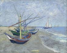 Рыбацкие лодки на пляже в Сан-Мари-де-ла-мер (Fishing Boats on the Beach at Les Saintes-Maries-de-la-Mer), 1888 - Гог, Винсент ван