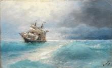 Итальянский корабль в море - Айвазовский, Иван Константинович