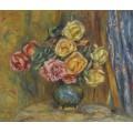 Розы и голубой занавес, 1912 - Ренуар, Пьер Огюст