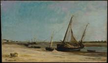 Лодки на берегу реки в Этапле - Добиньи, Шарль-Франсуа