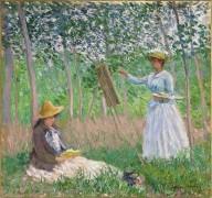 Бланш и Сюзан Хосхеде в роще близ Живерни - Моне, Клод
