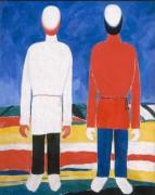 Две мужские фигуры (В белом и красном) - Малевич, Казимир