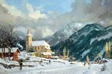 Зимний пейзаж с часовней - Кинкейд, Томас