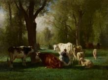 Пейзаж с овцами и коровами - Труайон, Констан