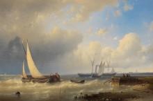 Рыболовные лодки и пароход у берега - Халк, Абрахам Старший