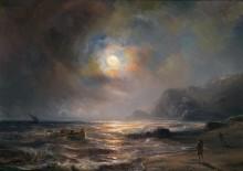 Скалистый берег в свете луны - Гюден, Теодор