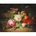 Цветочный натюрморт с малиновкой и голубой бабочкой - Лауэр, Йозеф
